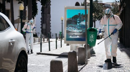 Street disinfection in Funchal