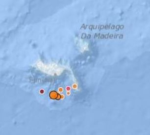 Mapof recent earthquakes off Madeira