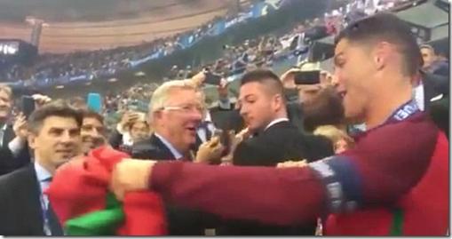 Ferguson and Ronaldo hug after Euro 2016 final