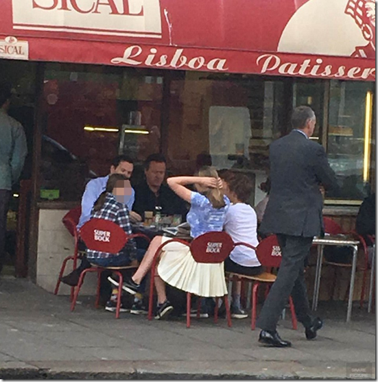 Cameron and Osborne sitting outside Lisboa Patisserie in Notting Hill