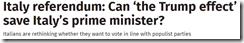 Italian referendum headline from Independent