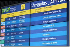 Madeira Airport arrivals board