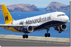 Monarch Airlines plane taking off from Madeira