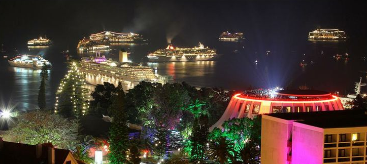 New Years ship in Funchal Bay