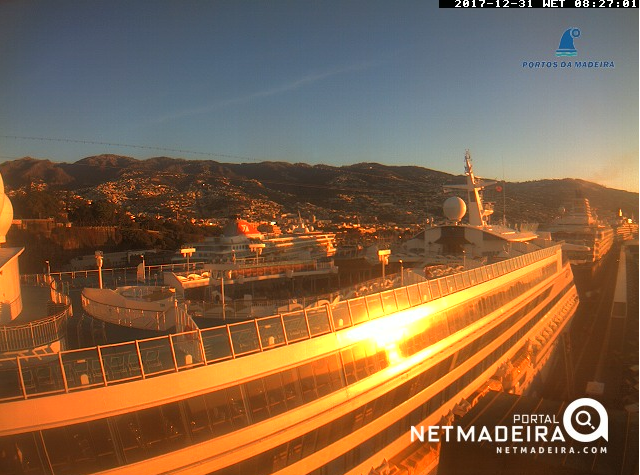 webcam of Funchal port as ships arrive for New Year's Eve