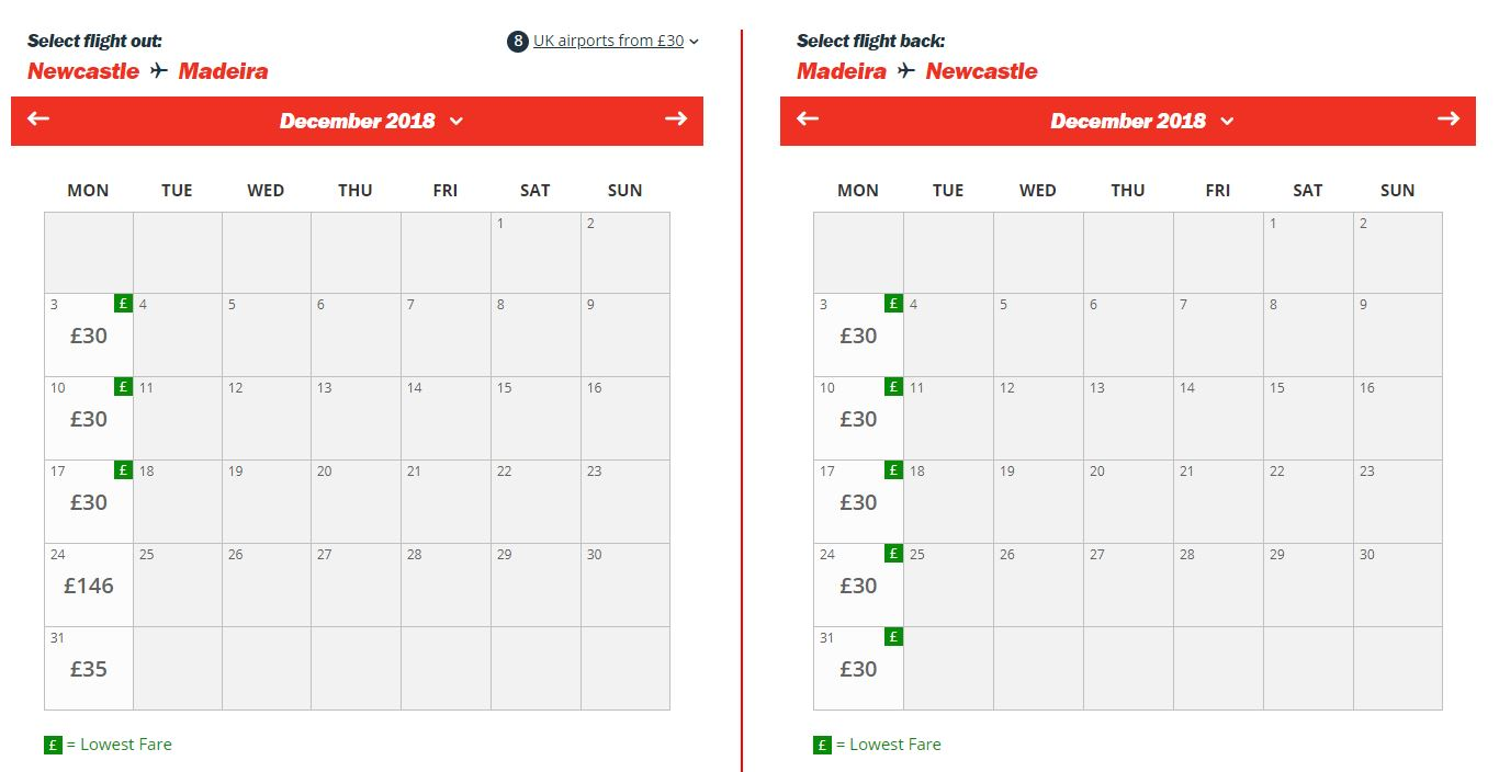 Cheap flights from Jet2 in December