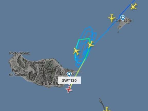 Flight radar image of Funchal airport