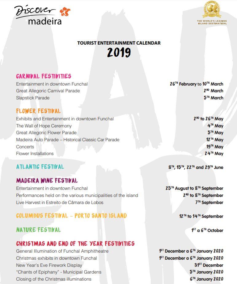 Festival Calendar 2019