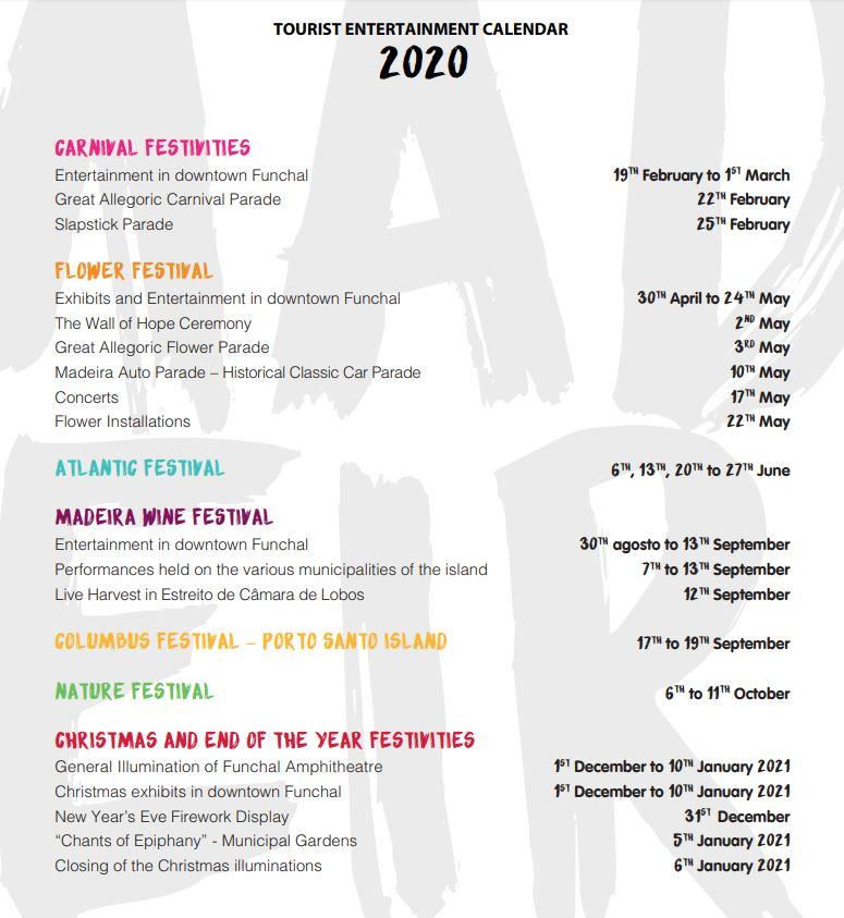 Festival Calendar 2020 Festival Calendars 2019 and 2020 • Madeira Island News