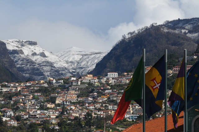 Snow in the hills above Funchal