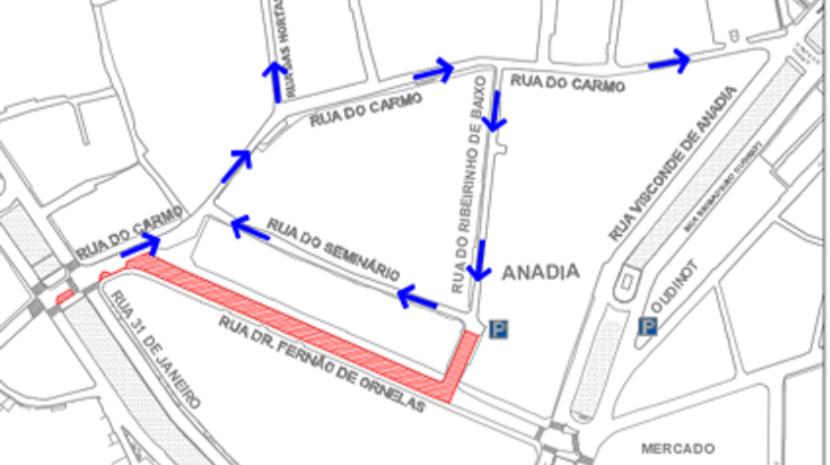 Rua Dr. Fernão de Ornelas closes - map of diversions
