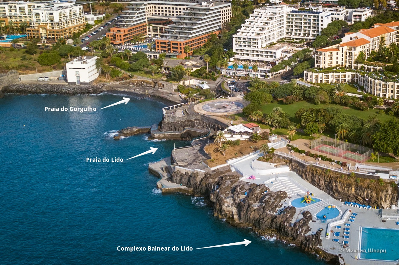 Aeriel view of Praia do Gorgulho and the Lido