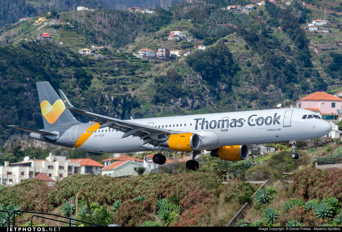 Thomas Cook airlines for sale - plane approaching Funchal