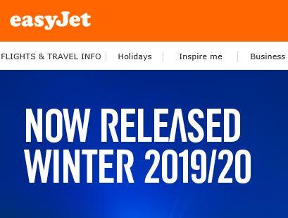 easyjet website showing new schedules released
