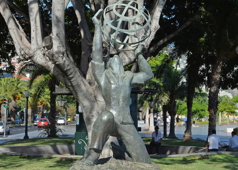 Monument to the Madeiran Emigrant where flowers are laid on Portugal Day