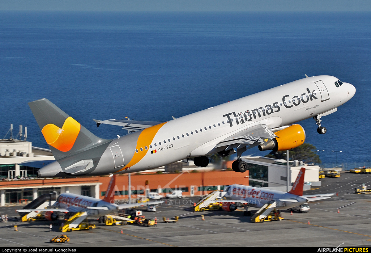Thomas Cook plane taking off from Madeira airport