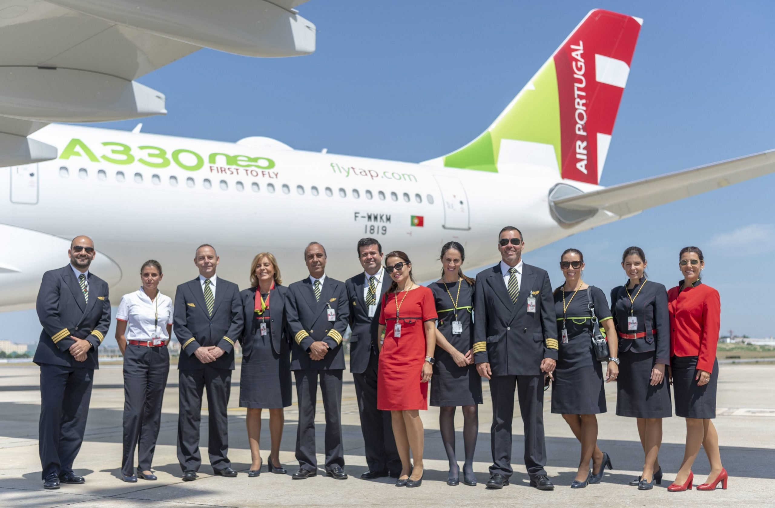 TAP staff in front of A330neo