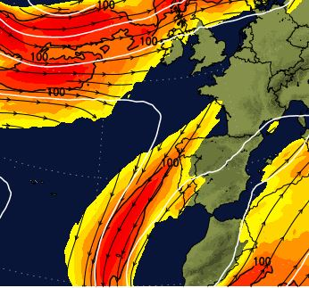 netweather forcast showing jetstream approaching generating poor weather
