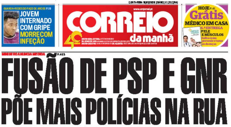 Correio da Manhã front page repoting on merger of two police forces
