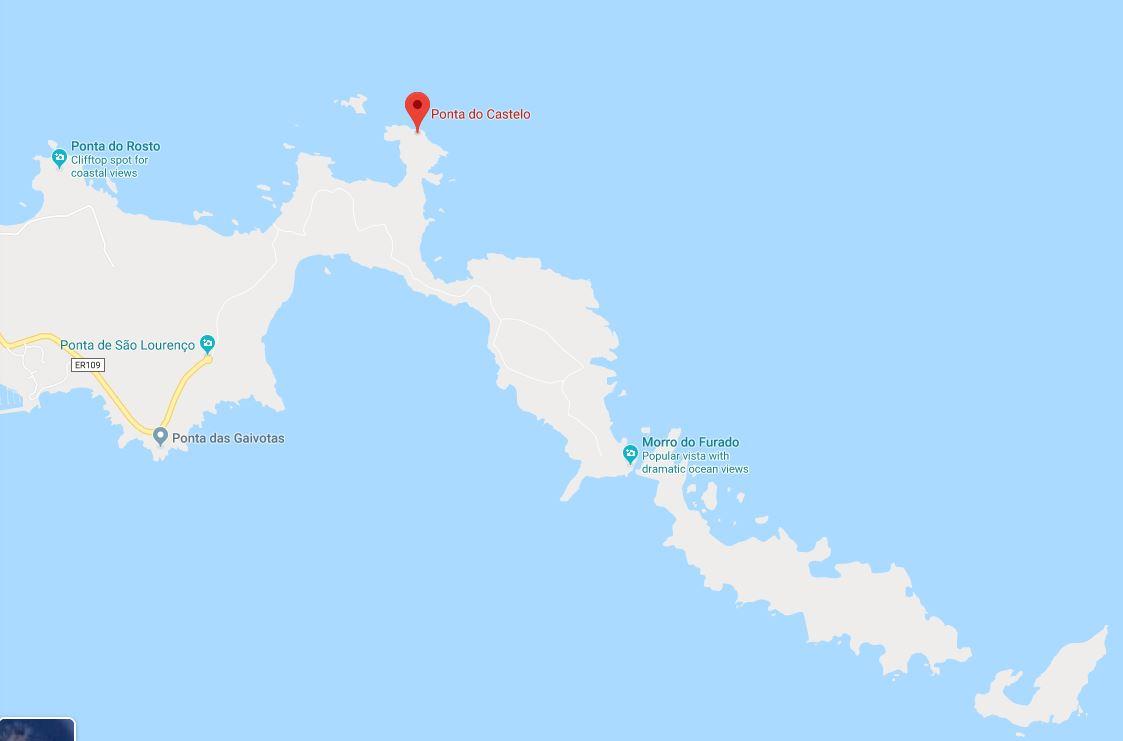 Map of Ponta do Castelo, where a decomposed body was found