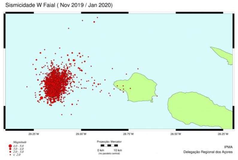 Earthquake map of the area west of Faial in the Azores