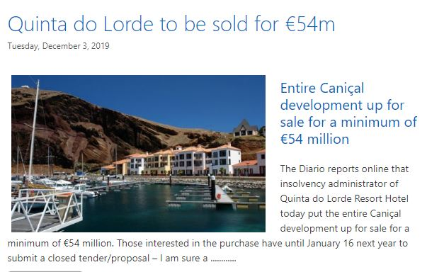 Quinta do Lorde reported in the blog 3.12.19
