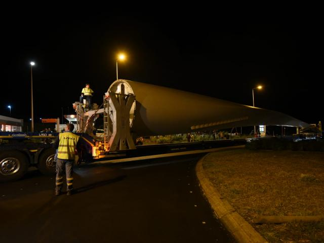 wind farm components being transported