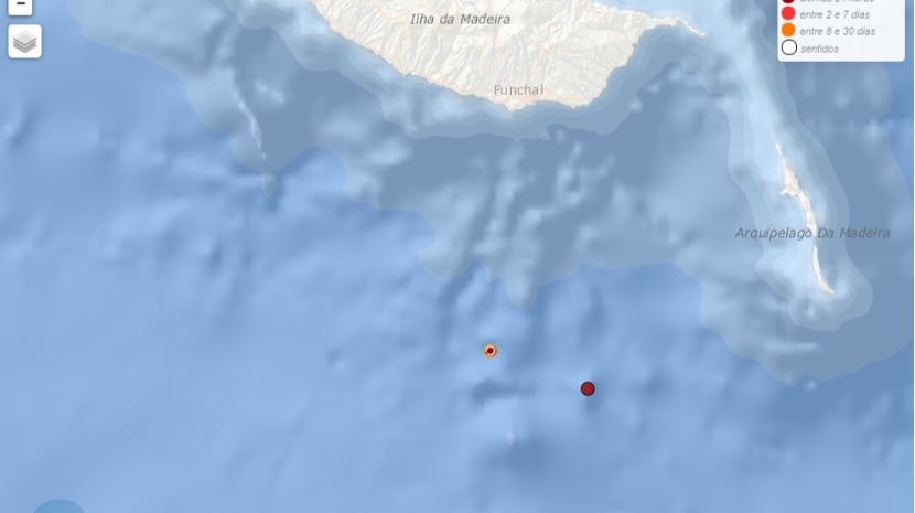 Map of Madeira showing location of earthquake